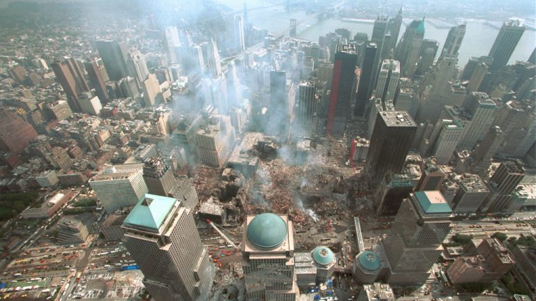 The Sept. 11, 2001 terror attacks in New York caused three World Trade Center buildings to collapse due to unique factors, leaving the devastation pictured above.