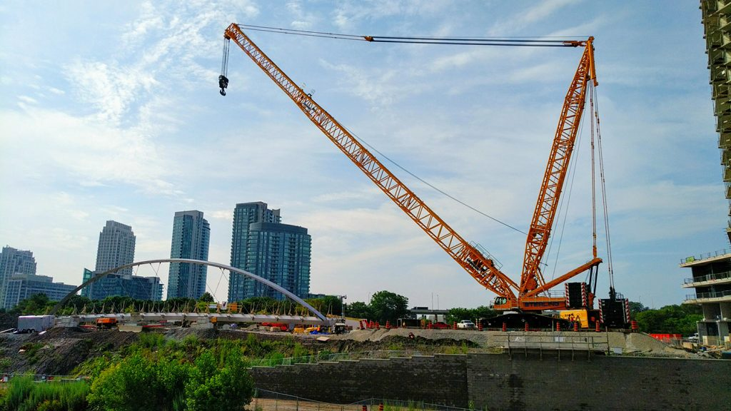 Canada's first entirely stainless steel bridge lifted