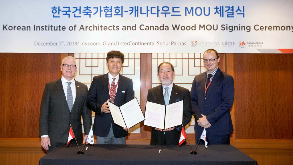 Canada Wood Korea signs agreement with Korean Institute of Architects
