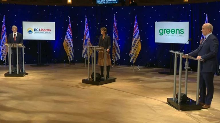 BC NDP Leader and British Columbia Premier John Horgan, BC Liberal Leader Andrew Wilkinson and BC Green Party Leader Sonia Furstenau debated on Oct. 13 and addressed the environment, affordable housing and natural resource projects.