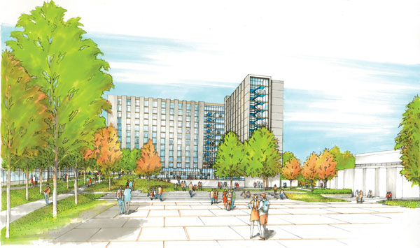 The new student housing project at the Burnaby campus of the British Columbia Institute of Technology will have 264 fully self contained studio apartments and 200 single-bedroom units with shared communal kitchens and washrooms.