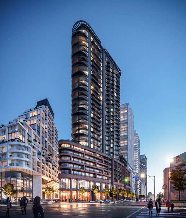 Galleria III, a flatiron-shaped residence designed by Hariri Pontarini Architects, will be the third structure to rise in ELAD Canada's Galleria on the Park master-planned community in Toronto.