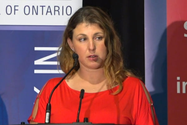 Ontario Building and Construction Tradeswomen committee member Keira Liberte addressed the Building Trades convention held Oct. 16.