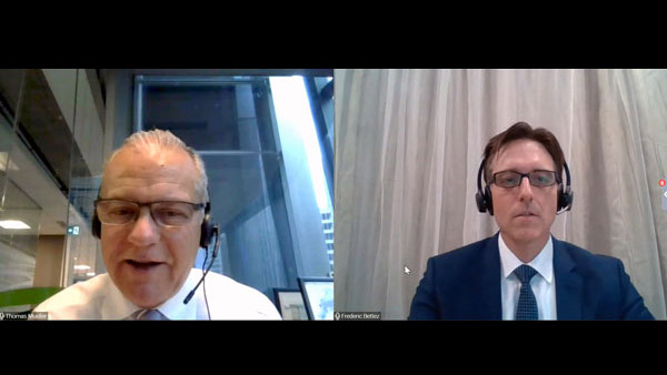 Canada Green Building Council president and CEO Thomas Mueller (left) talked about retrofit investments with Frederic Bettez, managing director of investment for the Canada Infrastructure Bank, during a recent webinar.