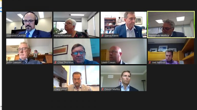 The Ontario General Contractors Association (OGCA) held its annual general meeting via Zoom on Oct. 8. Joel Melloul (right end, second row), president and CEO of Melloul-Blamey Construction of Waterloo, was selected the OGCA's new chair.