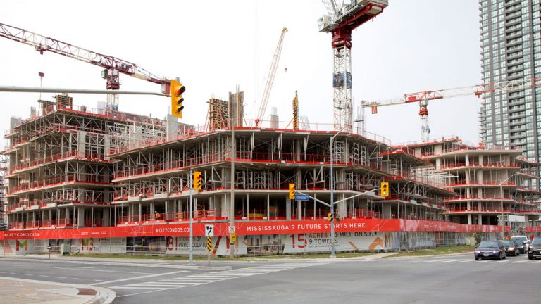 Construction work is well underway at the M City condominiums in Mississauga, Ont. EllisDon is the construction manager of the three-phase project that will include a 60-storey, 783-suite tower with retail and five-levels of underground parking; another 60-storey, 793-suite tower with townhomes and retail; and an 81-storey tower. Core Architects is the architect for M1 and M2 and IBI Group is the architect for M3. Consultants are: Read Jones Christoffersen (structural); Smith + Andersen (mechanical/electrical); Cecconi Simone (interior); and The Planning Partnership (landscape).