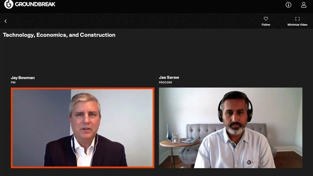 FMI Corporation principal and managing director of research Jay Bowman (left) and Procore Technologies Canada vice-president Jas Saraw presented the Technology, Economics and Construction session at Procore's recent Groundbreak virtual conference.
