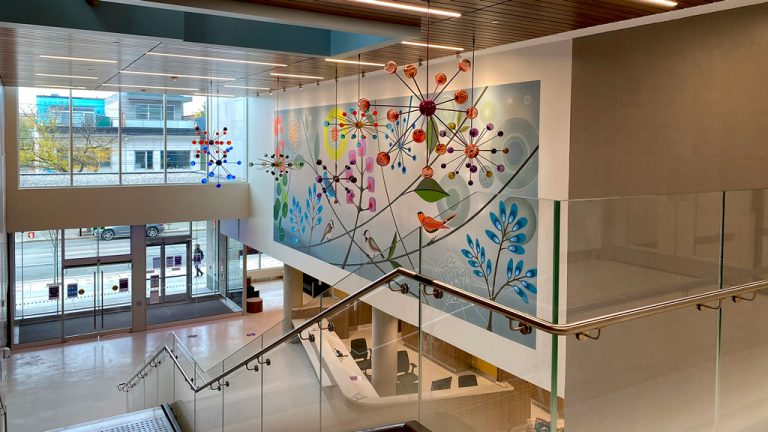 The Centre for Addiction and Mental Health (CAMH) in Toronto officially opened two new buildings and moved its emergency department to the new location on Queen Street. The opening marks the official completion of the largest phase of campus redevelopment in CAMH history. Pictured is the lobby in the Crisis and Critical Care Building featuring art from Rebecca Baird.