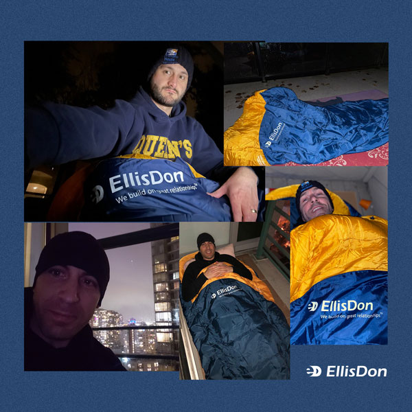 EllisDon's Craig Enns, Ian Kerr and Daniel Murphey took part in Covenant House BC's annual Sleep Out in support of homeless youth. Participants raised over $1 million for the organization's Crisis Program.