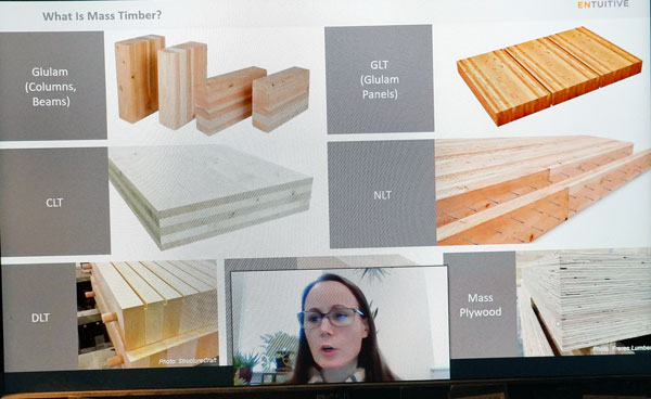 Tanya Luthi, vice-president and structural engineer at Entuitive in New York City, told a webinar audience at the Wood Solutions Conference that various Canadian provinces have pushed the envelope on mass timber design.