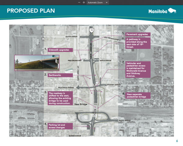 Documents outline the Daly Overpass Project in Brandon, Man.