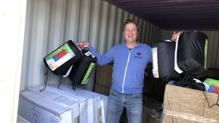 HeroWork founder Paul Latour helps collect camping gear for Vancouver Island's homeless earlier this year.