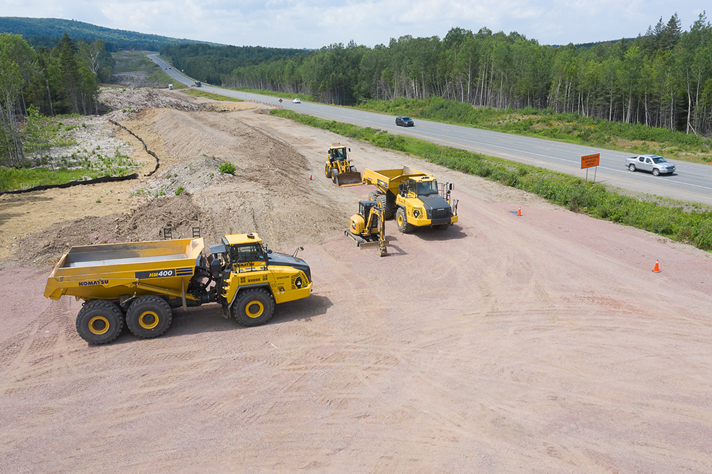 Highway 104-newly constructed Dexter Construction lay-down area for web