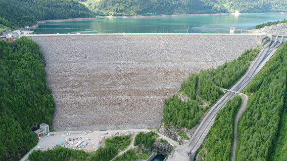 Pictured is one of the B.C. Hydro dams that was examined with a novel drone-based collection and damage-assessment software system developed by Niricson.