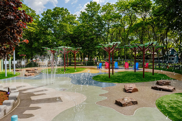 The Centre Island Wading Pool Conversion in Toronto won the architectural hardscape award from the Ontario Concrete Awards this year. The project used a variety of concrete textures and finishes across 1,500 square metres using 400 cubic metres of concrete.