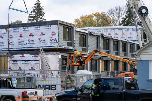 Two City of Toronto affordable housing projects, on Macey Avenue and Harrison Street, will be ready for occupancy in December 2020 and January 2021 respectively. Pictured is the installation on Macey Avenue.