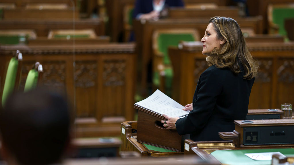 Wait until spring for new infrastructure stimulus spending, Freeland says