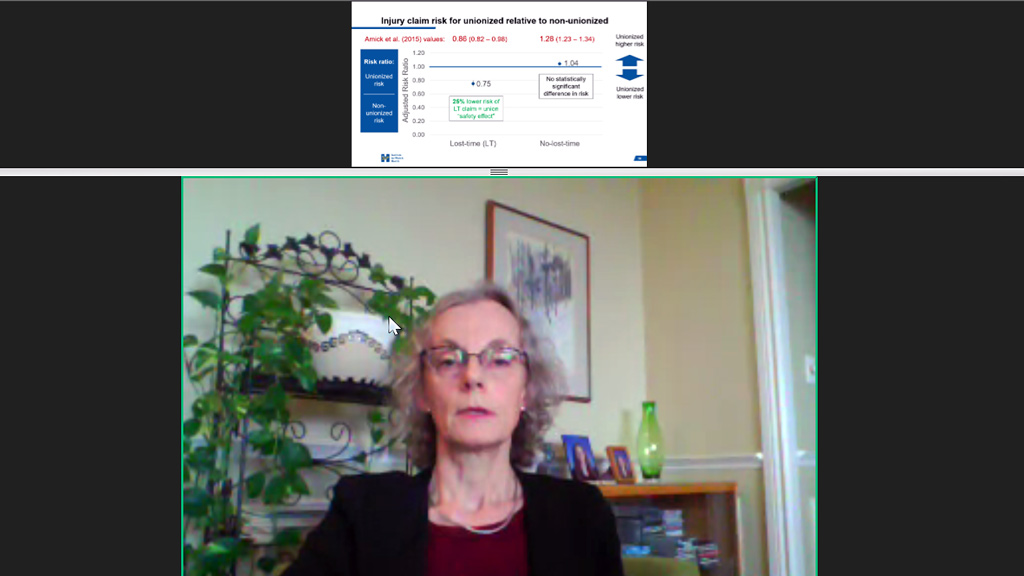 Lynda Robson, a scientist for the Institute for Work and Health presented the findings of the recently released study, Updating a Study of the Union Effect on Safety in the ICI Construction Sector during a webinar Jan. 12. The study found unionized construction sites in Ontario are safer than non-unionized sites, said Robson.