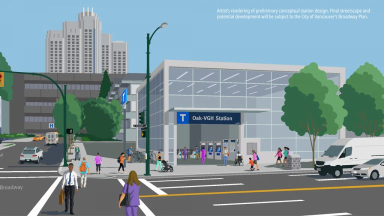A rendering shows a future station on the Broadway Subway Line in Vancouver B.C. Crews have begun demolition to make way for stations and laydown areas. Work on the actual subway tunnel is expected to start next year.