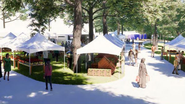 A rendering shows the future of Saskatoon's proposed permanent festival site which would host events near the South Saskatchewan River all year round.