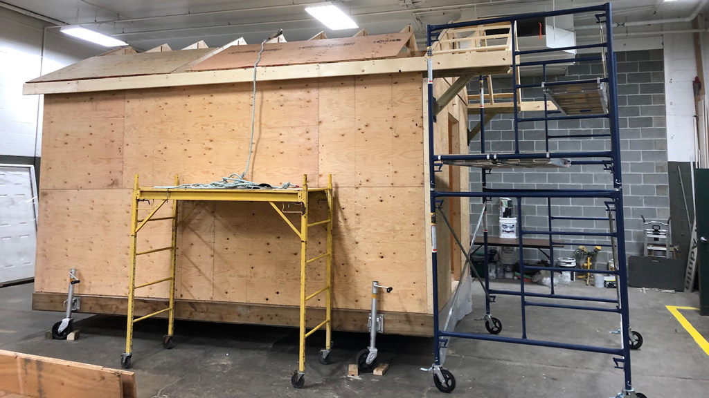 A bunkhouse nears completion in Prince George, B.C. as part of a program to encourage participation in the construction industry.