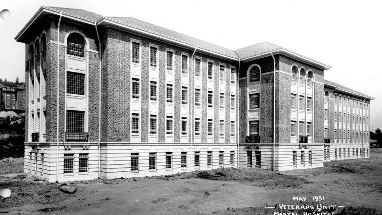 The Veterans unit in 1931 at səmiq̓wəʔelə sits unfinished following the Great Depression.