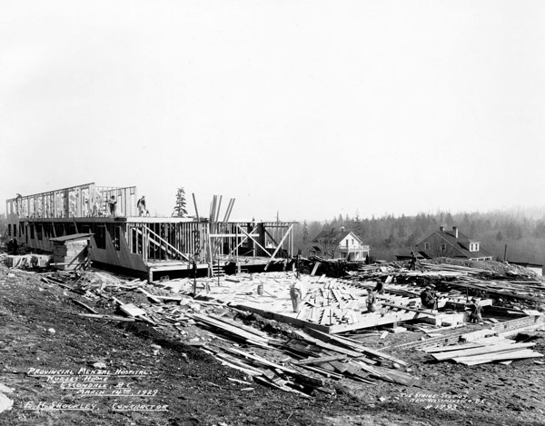 Crews work on housing for nurses who treated mental health patients in the 1930s at səmiq̓wəʔelə in Coquitlam, B.C.