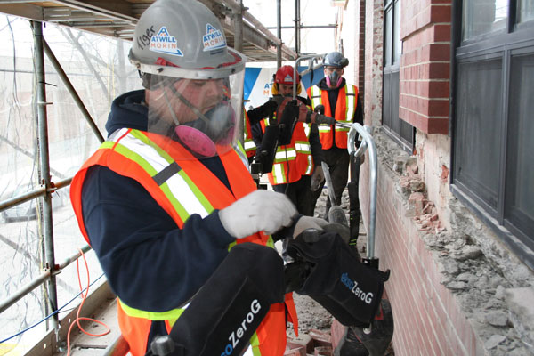Workers at Atwill-Morin have been using exoskeletons on sites across Montreal.