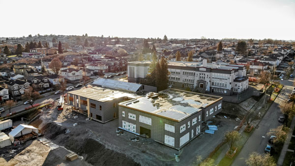 Sir Matthew Begbie Elementary school in Metro Vancouver will be a 34,000-square-foot structure with open learning spaces. Much of the wood for the school has now been erected.