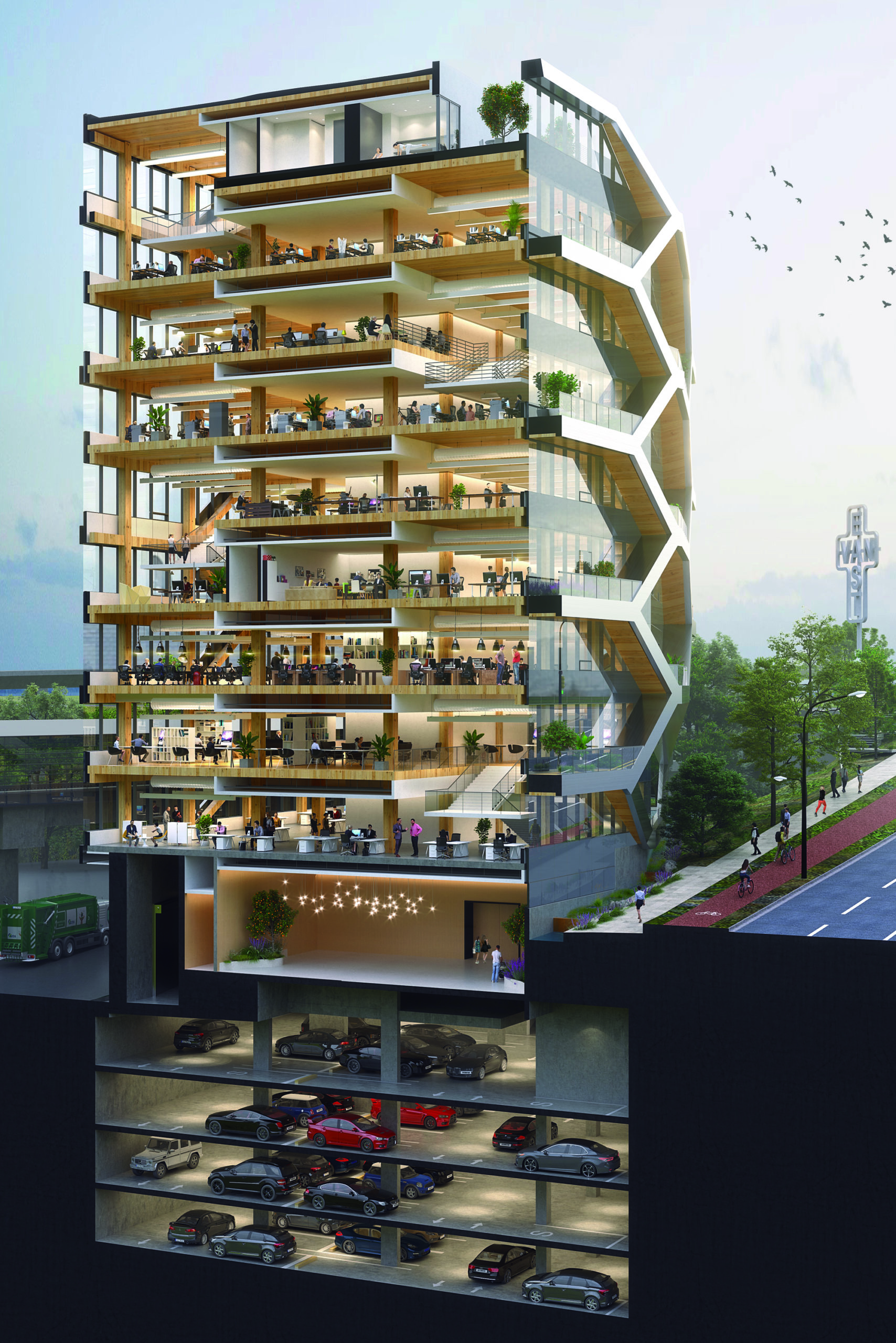 B.C. announced it will be funding a series of projects to build and research mass timber construction projects. One such project is 2150 Keith Drive, a 10-storey tall wood office building in Vancouver's False Creek Flats neighbourhood.