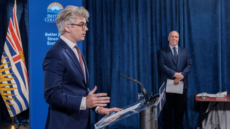 Andrew Mercier, parliamentary secretary for skills training, and Premier John Horgan announce plans to return compulsory trades certification to B.C. 18 years after being eliminated.