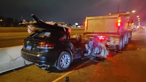 Driver critically injured after ramming into dump truck in construction zone