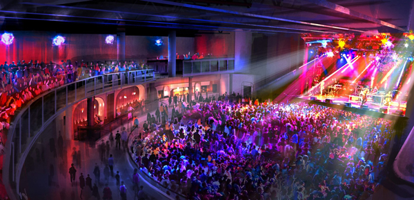 Live Nation's new concert hall will include a convertible general admission area and reserved seating configurations depending on the event.