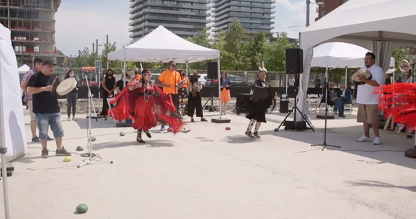 The ceremony launching construction of Toronto's new Indigenous Hub featured First Nations drummers Young Creek and four fancy-shawl dancers.