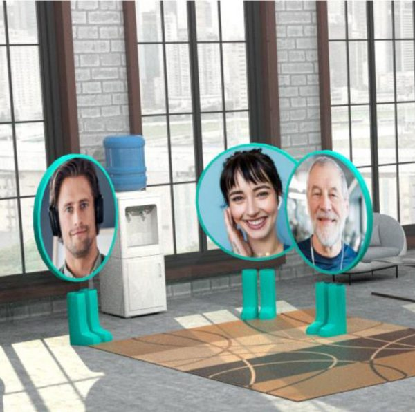 The faces of participants in a Bublr video conversation can be seen as a movable avatar. Bublr creates a customizable virtual space where employees can gather spontaneously, such as the staff lounge in the real life office.