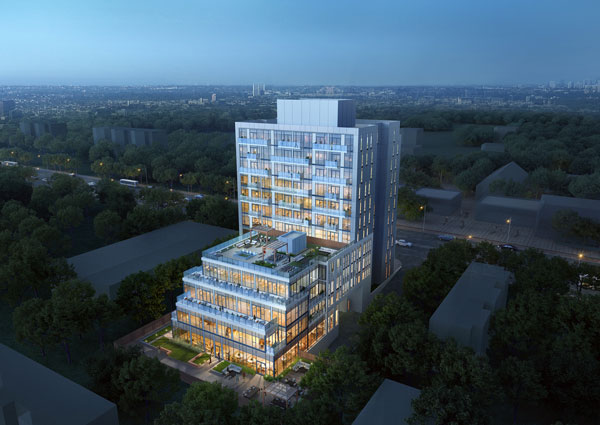 East Pointe from Mutual Developments will be an 11-storey mid-rise at 4569 Kingston Rd. in Toronto with 104 units starting from the $400,000s.