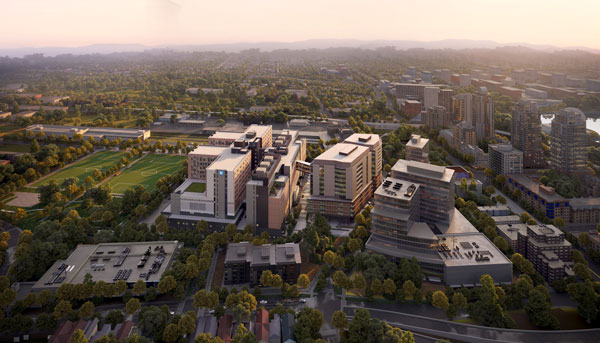 St. Paul's Hospital in Vancouver will be a full-service, acute-care facility and integrated health campus with capacity for up to 548 beds. The existing St. Paul's hospital will be relocated from its home on Burrard Street once the new one is completed.