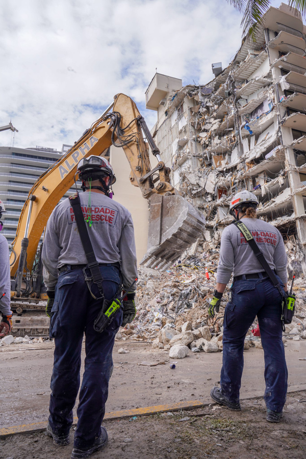 The search at the Surfside condo building collapse had been suspended since Saturday afternoon so demolition workers could begin the drilling work. No one has been rescued alive since the first hours after the June 24 collapse.
