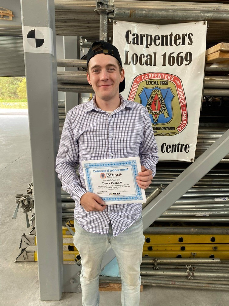 Landon Sprock recently completed the drywall/acoustics/lathing applicator Level 1 training through the Anishinabek Employment and Training Services and Carpenters' Local 1669 in Thunder Bay, Ont. Sprock, who is part of the Red Rock Indian Band, says he plans to attend college to continue his training following a work placement.