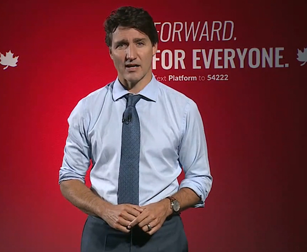 Prime Minister Justin Trudeau of the Liberals unveiled the party's election platform in Toronto.