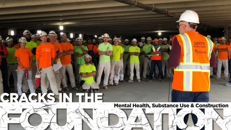 Alberici safety director Bo Cooper addressed hundreds of construction workers during the first suicide prevention stand-down at the SSM Health Saint Louis University Hospital Campus Renewal project in St. Louis, Mo. in September 2019.
