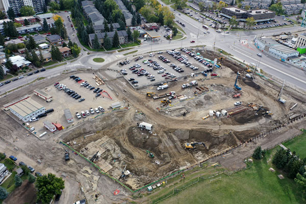 Piling rigs and other heavy equipment are onsite at the UXBorough development and have begun digging out soil for installation of several buildings.